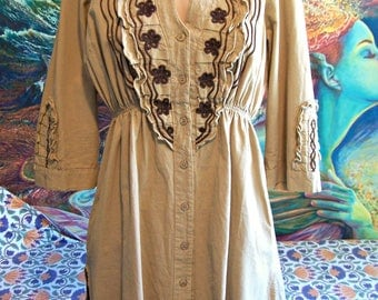 Embroidered Tunic, Cotton Blouse, Brown embroidery, Peru, Peasant Blouse, size M/L