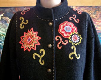 Embroidered Jacket, Icelandic Wool, Black, Coat, Black Jacket, size XL