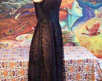 Vintage, Slip, Black, Lace, Lingerie, size S