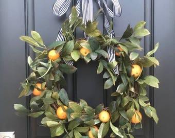CITRUS WREATHS, Oranges Wreath, Wreath With Oranges, Taste of Summer, Artificial Orange Wreath, Spring Door Wreaths, Front Porch Wreaths