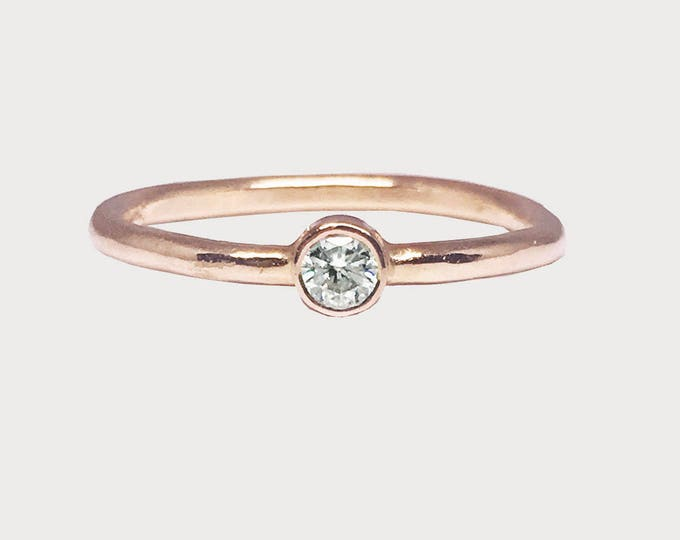 Wishing Star Love Ring_ 14K Rose Gold Solitaire Diamond Engagement Ring