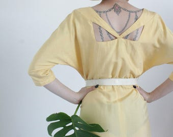 The Lemon Drop Dress | 1980s Yellow Raw Silk Dress | Vintage 80s Silk Cut Out Dress with Pockets | Medium M Large L