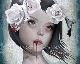 Gothic Portrait Art Print - Vampire & Hummingbird - Gothic Art - Hummingbird Print - Wall Decor - Don't Be Afraid