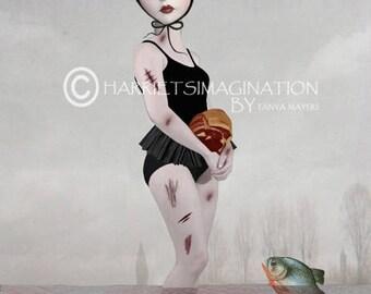 Lowbrow Art Print - Lolita & Piranhas - Piranha Art Print - Goth Girl Art - Swimming With Fishes