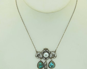 Arts and Crafts Sterling Silver Blister Pearl & Turquoise Necklace