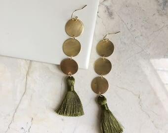 Olive Green tassel Earrings. Long Brass Earrings. Bold Earrings. Tassel Earings. Round Disk Dangles. Statement Earrings. Boho Style. Modern.