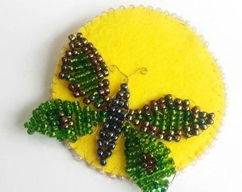 Green moth brooch - green butterfly brooch - full moon brooch