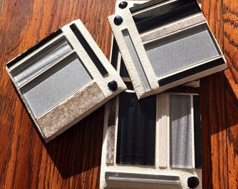Black - Silver Glass and Stone Mosaic Coasters (Set of 4)
