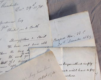 19th century paper ephemera - antique lawyers letters - lot of 4 for mixed media projects
