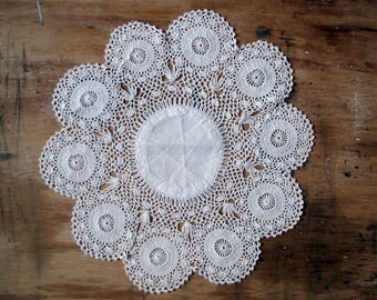 antique crochet lace doily - handmade deep trim with round medaillion details - cottage home decor - 10 inches