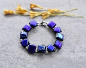 Black and Blue Elegant Dichroic Glass Bracelet