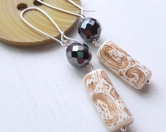 njal's saga earrings - runic designs - hematite glass, vintage lucite, sterling silver