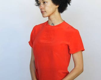 shirin guild -- gorgeous 80s tomato red silk top S