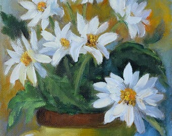 Small Still Life Art White Daisies In Lime Green Vase,Original Canvas Painting By Cheri Wollenberg