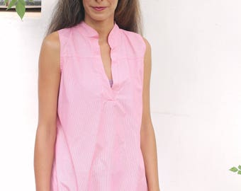 Women's clothing - L  /Chinese collar tunic  M-L / Cotton tunic/ oversize tunic/ pink color tunic / sleeveless tunic / Boho chic / oversize
