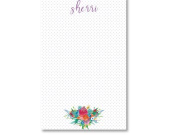 Personalized Notepad - Watercolor Flowers