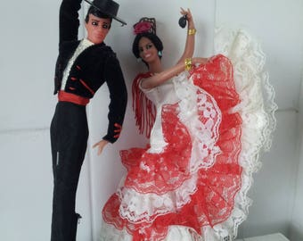 Vintage Spanish Marin Chiclana Plastic Couple Doll. Flamenco Dancers.