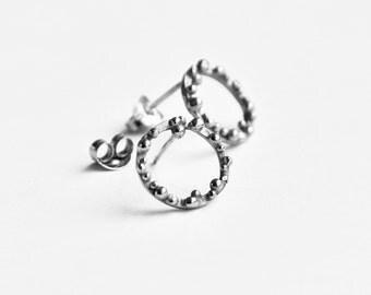 Small bubble hoop ear studs in silver – hoop earrings – granulated studs – bubbles stud earrings - birthday present – Valentines gift