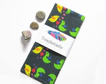 Love Birds Tea Towel ~ Kitchen Dish Towel ~ Linen ~ Cotton ~ Cup Towel ~ Hearts and Birds ~ Retro Inspired ~ Cheerful Decor ~ Under 20