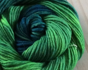 "100 yards Hand Painted Heavy Worsted/ Aran Weight Singles Yarn, Kitting Yarn, Crochet Yarn, Weaving, ""Irish Eyes"" Superwash Merino Singles"