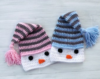 Twin Crochet Snowman Baby Hat, Twin Elf Hats, Twin Baby Hats, Christmas Baby Hat, Twin Photo Props, Pink or Blue and Gray