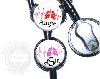 "1 1/2"" Design Stethoscope ID Tag - Personalized Respiratory Therapy Lungs EKG Nurse Littmann Identification (A427)"