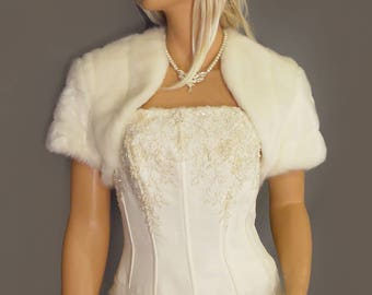 Faux fur bolero shrug jacket short sleeve in Mink bridal wedding stole coat wrap, cover up fur shrug FBA100 AVL in ivory & 3 other colors