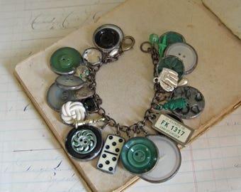 Button Charm Bracelet, Retro Handmade Jewelry,  One of a Kind