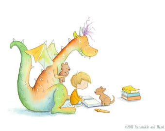 Blond Boy Reading to Red and Green Dragon - Art Print - Children