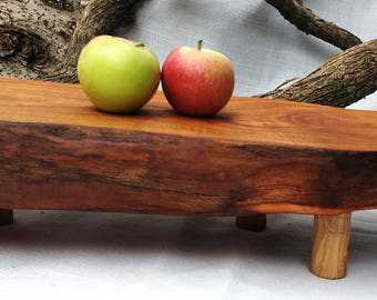 Salvaged Cherry Food Platter, Live Edge Wood Food Display, Rustic Serving Board, Boho Service Platter