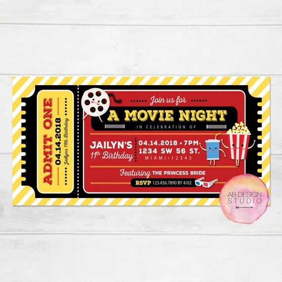 Movie Invitation Movie Night Invitation Hollywood Theme
