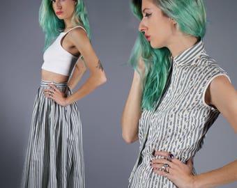 50s Striped Dress Set Eyelet Dress Set Two Piece Shirt and Skirt Cotton Dress Summer Dress Set XXS