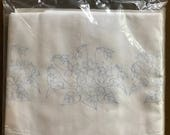 """Pillow Cases to Embroider by Lee Wards - Cotton Set of 2 32X42"""" - Violet Trio Pattern"""
