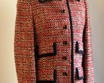 Vintage Classic 60's Nubby Red Tweed Jacket