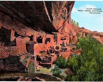 Vintage Colorado Postcard - The Cliff Palace at Mesa Verde National Park (Unused)