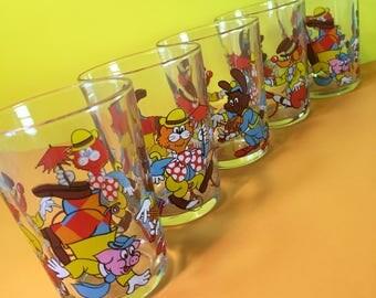 Vintage Children's Drinking Glasses - Animal Glasses - Vintage Tumblers - Kid's Glasses - 1980s - Set of Five