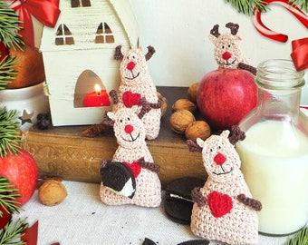 Christmas Ornament - Reindeer Ornament - Reindeer Decor - Kids Ornament - Crochet Ornament - Reindeer Gift - Stocking Stuffers - For Kids