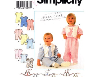Baby Romper & Bib Sewing Pattern Simplicity 7995 Boys Girls Infant Size NB S M L