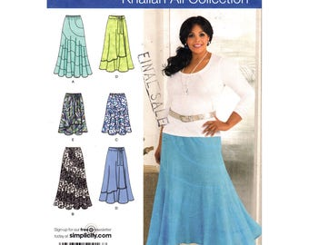 Womens Skirt Pattern Simplicity 2416 Above Ankle Flared Skirt Knee Length Khaliah Ali Womens Sewing Pattern Size 10 to 18 UNCUT