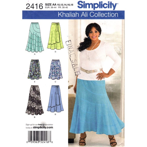 Flared Skirt Pattern Simplicity 2416 Above Ankle, Knee Length Khaliah Ali Size 10 to 18