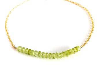 Green Peridot Gemstone Bracelet. Genuine Natural Light Green Gemstone Gold Bracelet. 14k Gold Filled Peridot August Birthstone Bracelet.