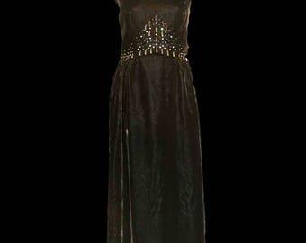 Original vintage 1960s Black velvet maxi dress FREE SHIPPING