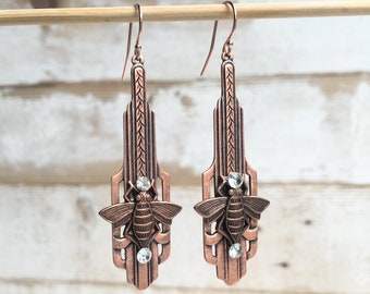 Art Deco Bee Earrings Rose Gold Earrings Art Deco Jewelry Bee Earrings Antiqued Rose Gold Jewelry Long Art Deco Earrings Gift for Her