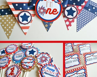 4th of July Birthday Party Decorations Fully Assembled | Red, White & Blue Birthday | First Birthday | Summer Birthday | Fourth of July
