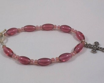 Pink Glass Beaded Bracelet with Cross Charm and Toggle Clasp