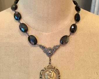 A Woman's Strength - French Art Nouveau Woman with Gold Obsidian Necklace
