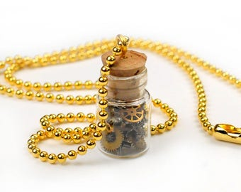 Gold Glass Vial Steampunk Necklace