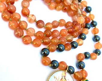 108 beads carnelian mala, Yoga Necklace, Tassel necklace, healing jewelry,
