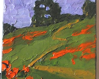 Miniature Impressionist Painting 4x4 Plein Air Landscape California POPPY HILLS Lynne French