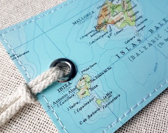 Ibiza & Majorca luggage tag made with original vintage map